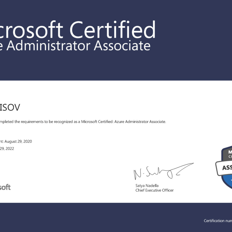 MICROSOFT Certified Professional AZURE ADMINISTRATOR