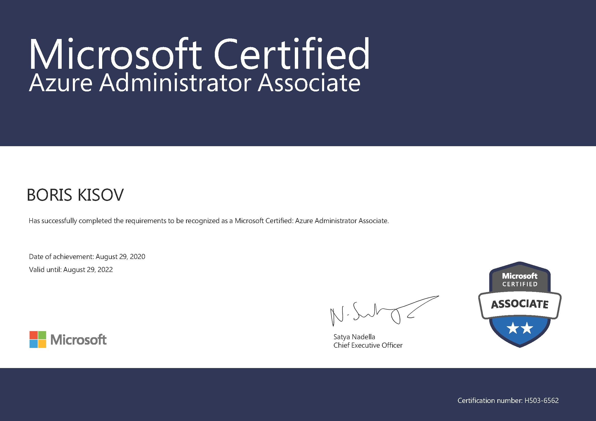 MICROSOFT Certified Professional AZURE ADMINISTRATOR