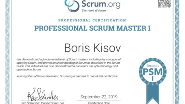 The Professional SCRUM MASTER I (PSM) certification