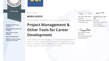 "Specialization ""PROJECT MANAGEMENT & Other Tools for Career Development"""