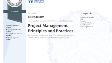 "Specialization ""PROJECT MANAGEMENT Principles and Practices"""