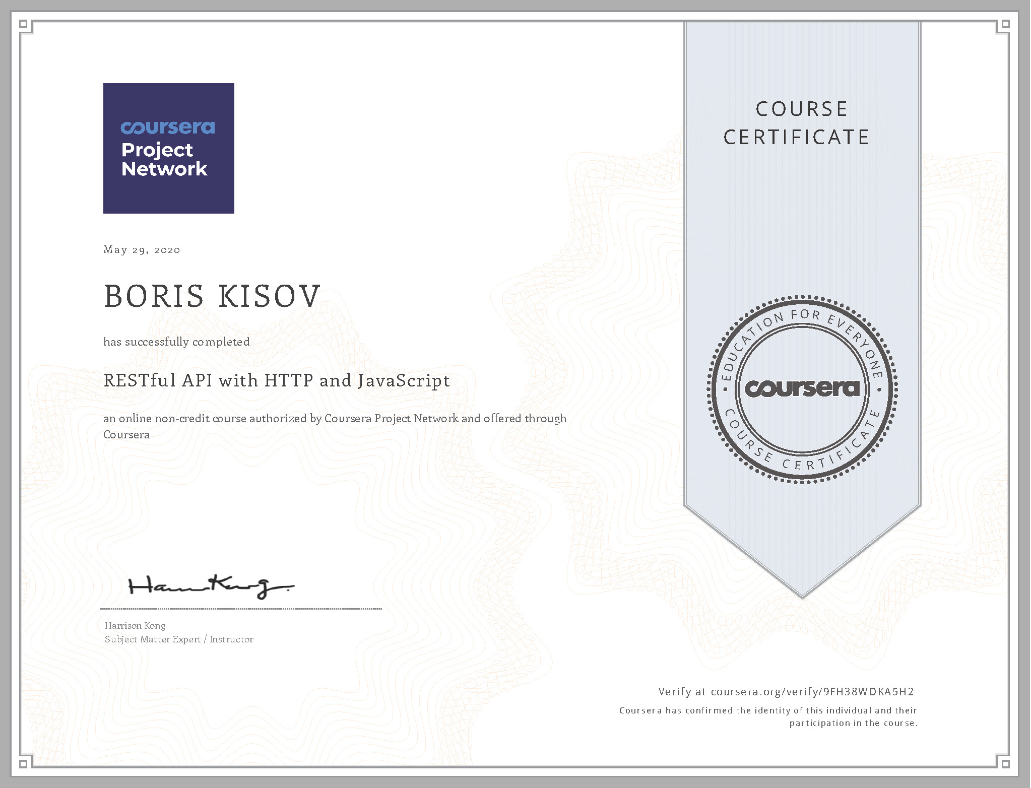 RESTful API with HTTP and JavaScript - Certificate