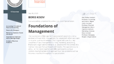 "Specialization ""FOUNDATIONS OF MANAGEMENT"""