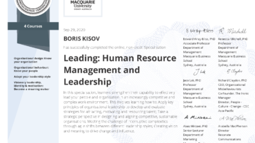 "Specialization ""LEADING: Human Resource MANAGEMENT and LEADERSHIP"""