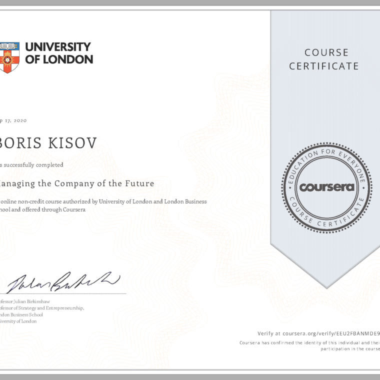 University of London - Managing the Company of the Future
