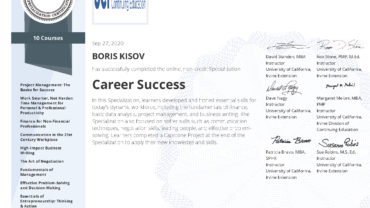 Specialization: CAREER SUCCESS