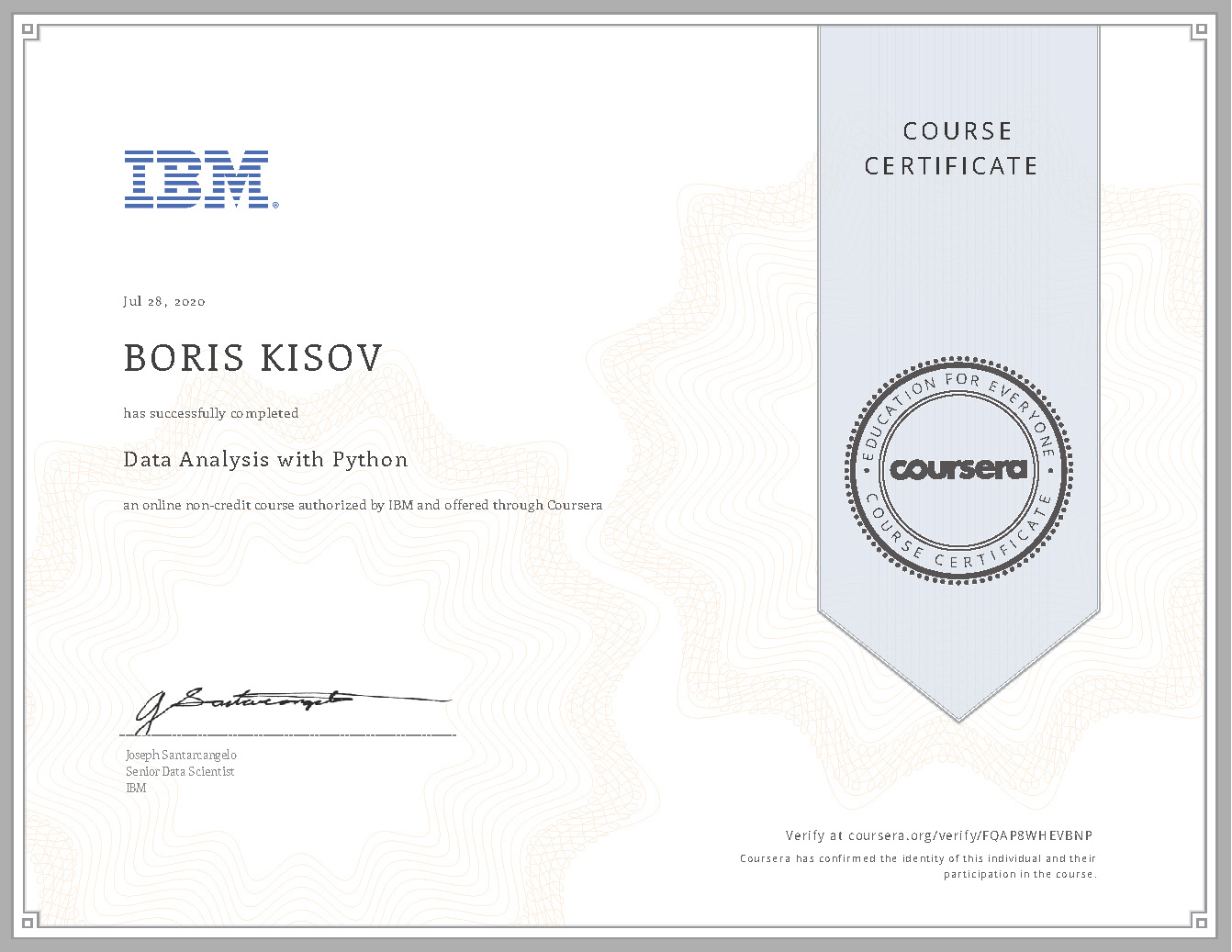 Data Analysis with Python - Certificate