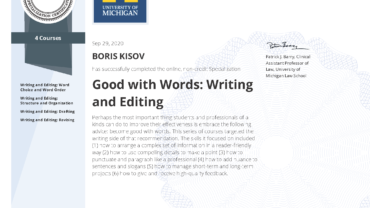 Specialization: Good with Words: Writing and Editing