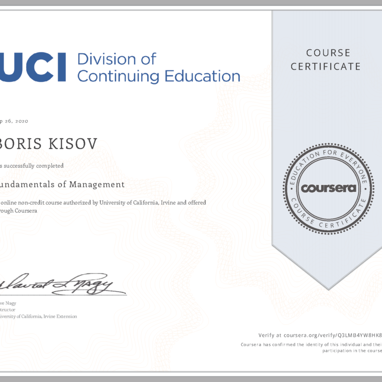  Fundamentals of Management- Certificate