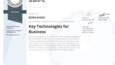 Specialization - Key Technologies for Business