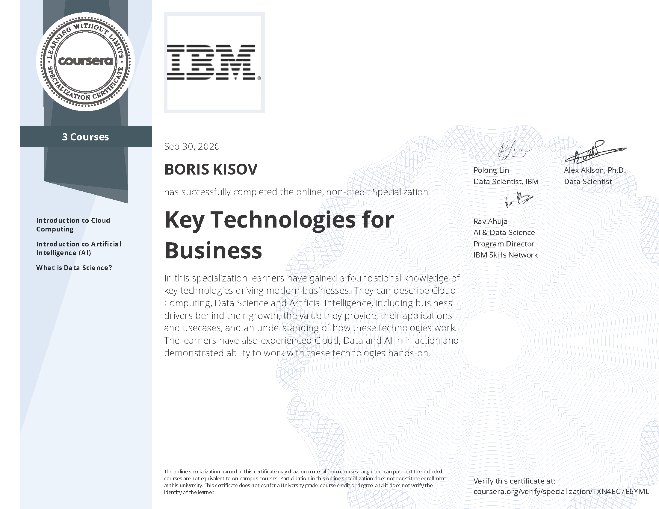 Key Technologies for Business