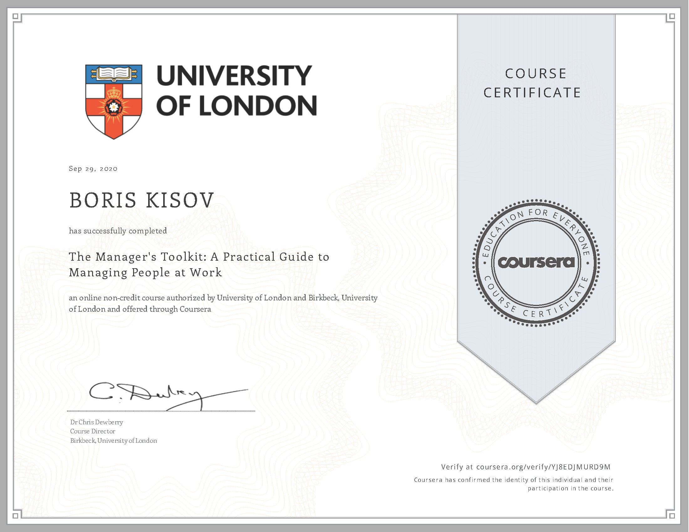 University of London - The Manager's Toolkit