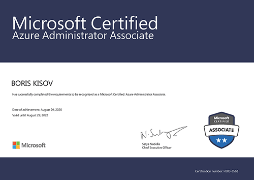 MICROSOFT Certified Professional:AZURE ADMINISTRATOR