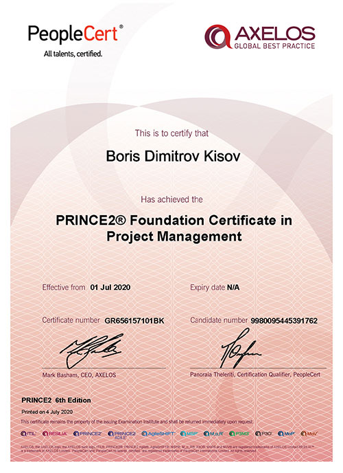 PRINCE2 Foundation certificate in Project Management